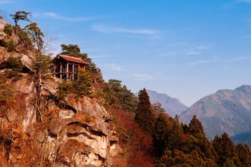 Building on rock cliff at Yamadera Risshaku ji temple, Yamagata - Japan