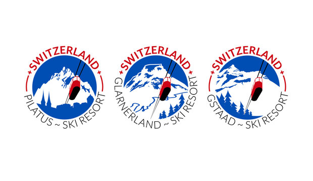 Logo collection for ski and snowboard resorts in Switzerland. Decorative fonts and simple colors. Vector illustration.
