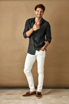 Handsome smiling man in daily casual outfit