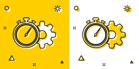 Black Time Management icon isolated on yellow and white background. Clock and gear sign. Productivity symbol. Random dynamic shapes. Vector Illustration