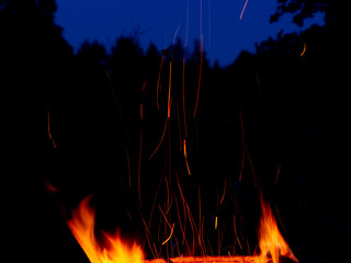 Campfire flame with long sparks against the background of the night forest