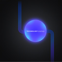 Abstract futuristic technology concept with light buttom on dark background, Vector illustration