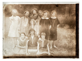 Vintage portrait teenager girls Group young people