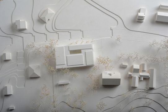 Site surrounding model for architectural presentation of a building at Geneva on Switzerland