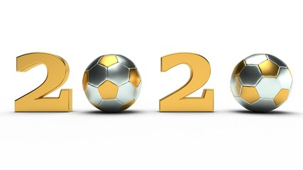 3D illustration of Golden footballs instead of zeros on the date of The new year 2020. Festive composition for sports calendars, 3D rendering isolated on a white background.