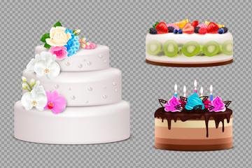 Birthday And Wedding Cake Transparent Set