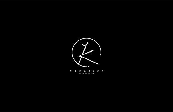 K letter calligraphic Minimal monogram emblem style vector logo