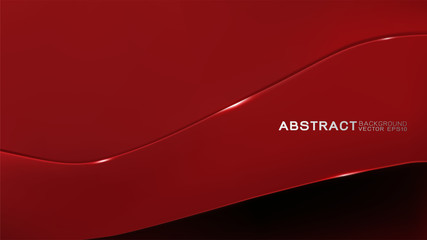 Abstract trendy and technology concept with line movement and copy space on dark red background, Vector illustration