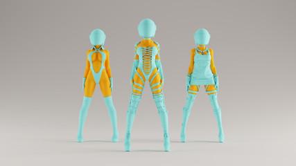 3 Gulf Blue Turquoise and Orange Alien Punk Biker Girls Space Crash Helmet 3d Illustration 3d render