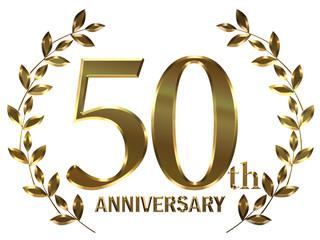 月桂樹モチーフのゴールドメタリックのアニバーサリーのロゴ_5周年・月桂冠_Metal texture golden 50th anniversary logo
