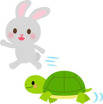 かけっこをするウサギとカメ