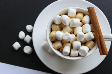 Hot chocolate with marshmallow.Christmas background with christmas decoration