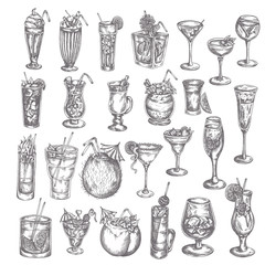Hand drawn cocktail big set Sketch of alcoholic drinks in glasses Cocktails icon in vintage style. Elemnets for menu, bar, restaurant. Engraved style