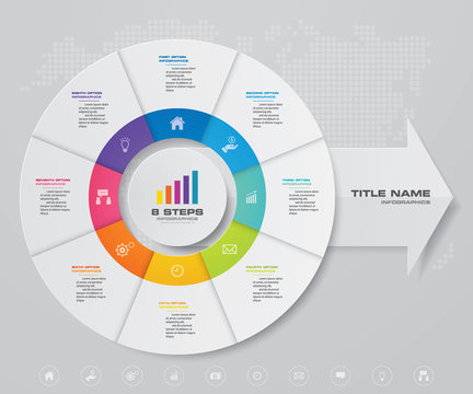 8 steps pie chart/ circle chart with arrow infographics design element. EPS 10.