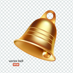 Golden metal bell isolated on a transparent background, Christmas symbol, school bell, vintage bell. 3D effect. Vector. EPS10