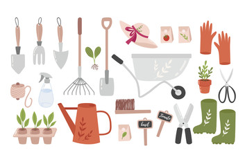 Garden tool set. Vector illustration of gardening elements