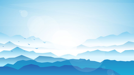 Fototapete - Vector realistic background. Minimalistic landscape with mountain. Blue panoramic banner. Fog in the mountains. Polygonal wallpapers. Misty morning. Sun glare effect. Blinding day. Clear sky