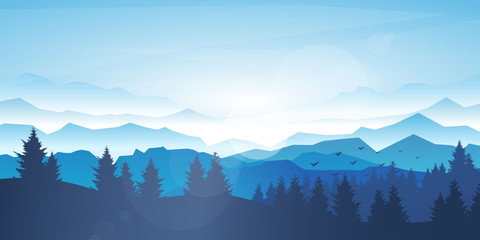 Fototapete - Vector realistic background. Minimalistic landscape with trees and mountain. Blue panoramic banner. Fog in the mountains. Polygonal wallpapers. Misty morning. Sun glare effect. Blinding day. Clear sky