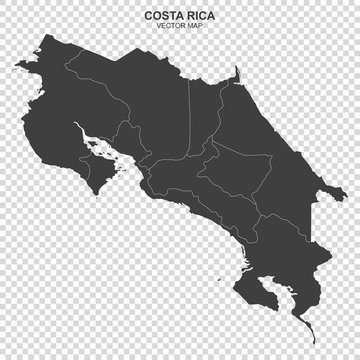 vector map of Costa Rica isolated on transparent background