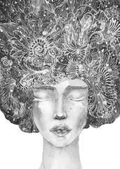 disegno grafico bianco e nero bella donna