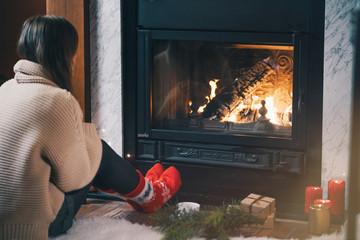 Beautiful girl in a warm sweater
