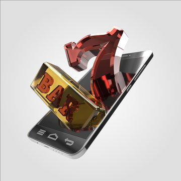 Online Slots Mobile Smartphone Desktop Casino Retro Style 3D Render