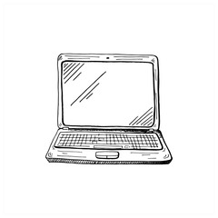 Laptop sketch. Hand drawn sketch style computer. Vector illustration, isolated on white background