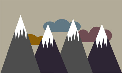 snowy mountains in scandinavian style; motivational and inspirational concept