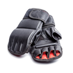 Mixed martial arts sports gloves on isolated white background