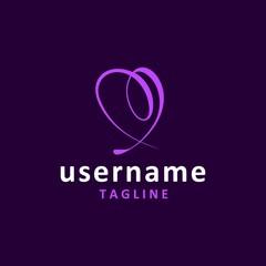 simple love logo design inspiration . love ribbon logo design template . spiral ribbon logo design