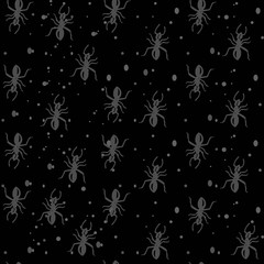 vector hand-drawn gray ants on a dark black background, seamless pattern with bread crumbs and sand.