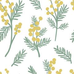 Mimosa seamless pattern