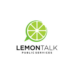 Illustration of lemon combined with bubble talk mark