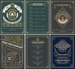 Set of Restaurant menu templates. Vintage style. Vector layered