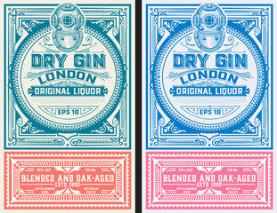 Vintage Gin label template. Vector layered