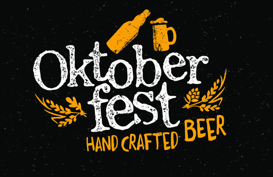 Oktoberfest beer festival. Big folk festivities in Bavaria. Handwritten typography header for signboard, greeting card, poster and coaster.