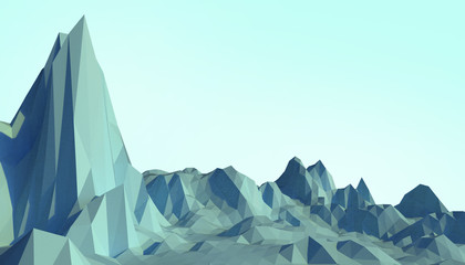 Geometric Mountain Low poly Landscape art Concept minimal with Colorful blue Background - 3d rendering