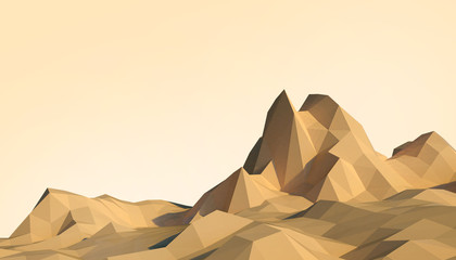 Geometric Mountain Low poly Landscape art Concept minimal with Colorful Orange Background - 3d rendering