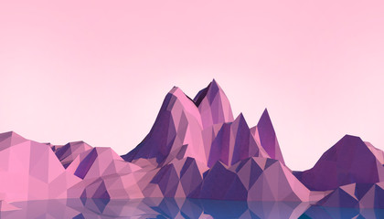 Geometric Mountain Low poly Landscape art Concept minimal with Colorful Purple Background - 3d rendering