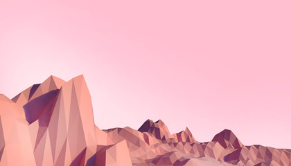 Wall Murals Light pink Geometric Mountain Low poly Landscape art Concept minimal with Colorful Red Background - 3d rendering