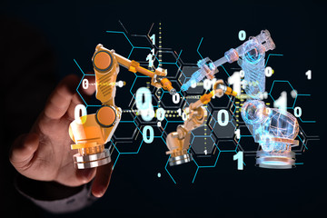 Industry 4.0 concept -  Robot arm in smart factory background.