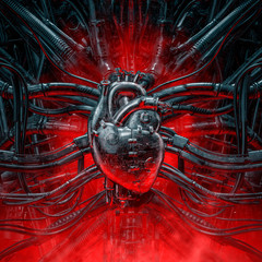 Heart of the gamer / 3D illustration of grungy metallic artificial robot heart connected to alien machinery