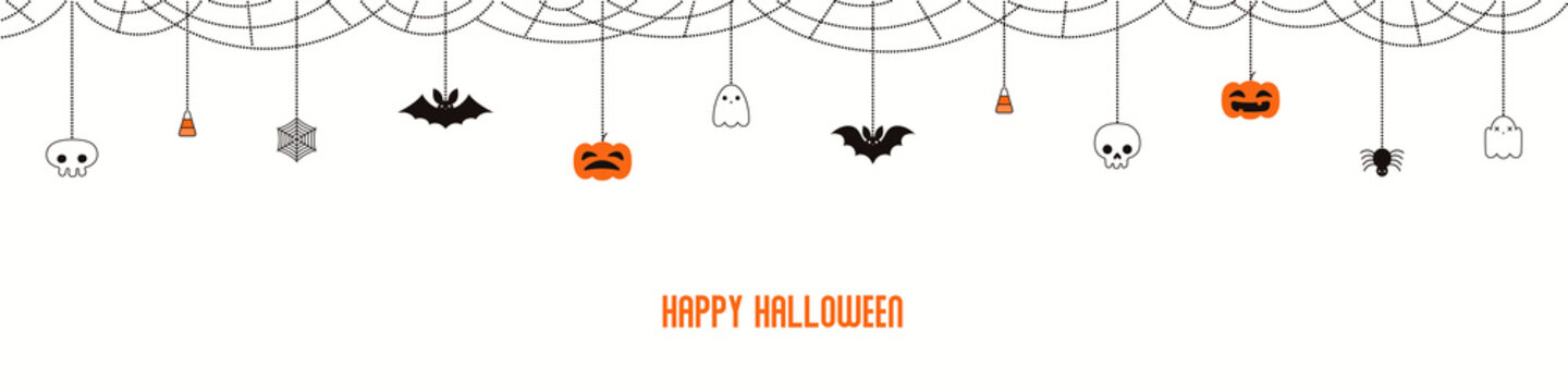 Happy Halloween garland, bunting with pumpkins, bats, ghosts, spider webs, skulls, corn candy, on white background. Hand drawn vector illustration. Holiday concept. Banner, invitation design element.