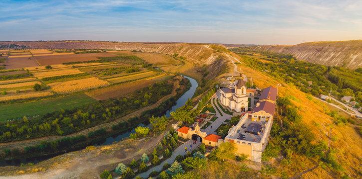 Old Orhei Monastery in Moldova Republic. Aerial view