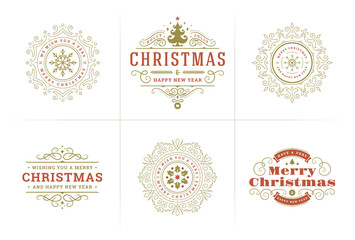 Christmas vector typography ornate labels and badges, happy new year and winter holidays wishes for greeting card
