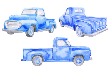 Watercolor blue old car pickup. Front view, side, back. On white background