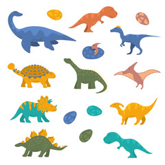Cute funny colorful dinosaur collection for kids. Vector isolated dino stickers for prints.
