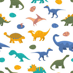 Cute colorful dinosaur seamless pattern for kids textile with raptor, rex and pterodactyl. Vector isolated dino wallpaper background. Boy t-shirt texture.