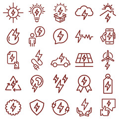 energy symbol - minimal thin line web icon set. simple vector illustration. concept for infographic website or app.
