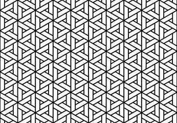 Foto op Canvas Geometrisch Abstract geometric pattern. A seamless vector background. White and black ornament. Graphic modern pattern. Simple lattice graphic design
